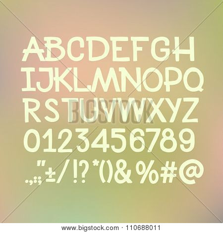 Type letters, numbers and punctuation marks Hand drawin alphabet handwritting abc vector font