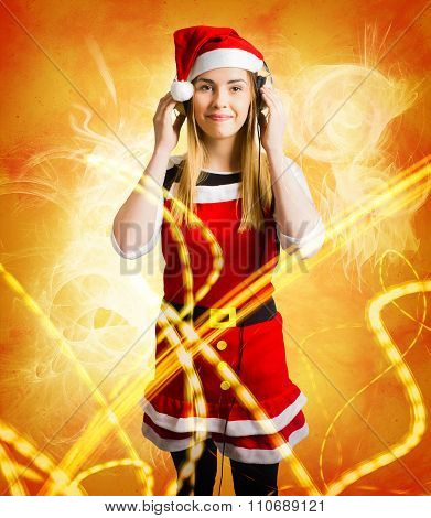 Santa Girl Listening To Abstract Christmas Music