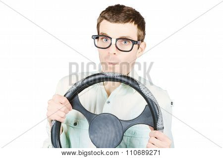 Isolated Man Driving Car On White Background