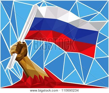 Patriotic Powerful Man Arm Raising The National Flag Of Russia
