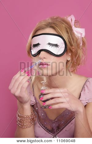 Blond Woman Smelling Perfume Sleep Mask Blind