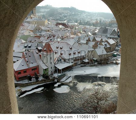 Old town Cesky Krumlov from window