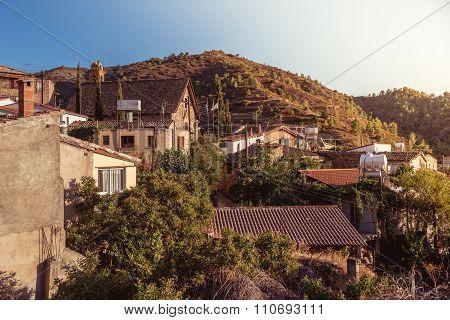 Gourri village. A village in the Nicosia District of Cyprus. Color tone tuned photo.
