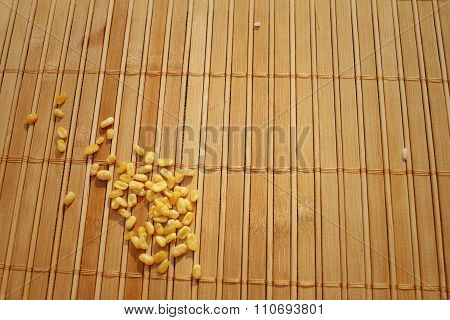 Soybeans On A Background Of Brown Wooden