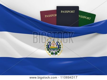 Travel and tourism in El Salvador, with assorted passports
