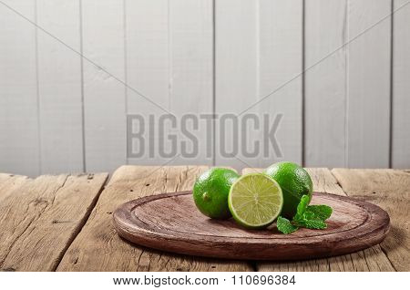 Fresh Limes With Mint Leaves