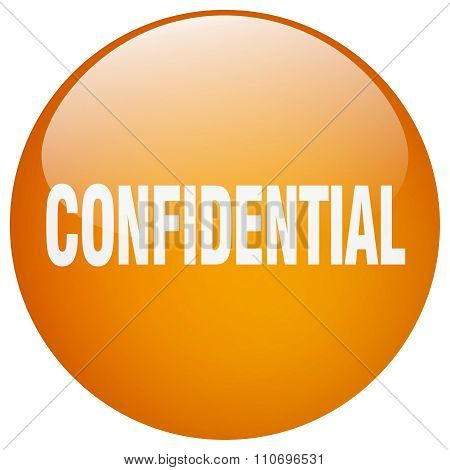 Confidential Orange Round Gel Isolated Push Button