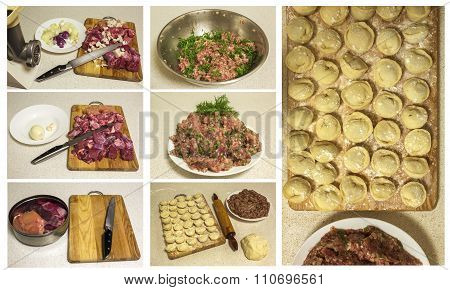 Cooking Meat. Cooking Homemade Ravioli And Pork Ground Beef