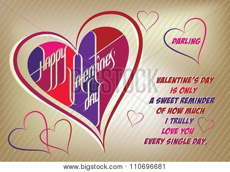 Happy Valentine's Day Darling - Custom Style Calligraphy Card