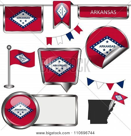 Glossy Icons With Flag Of State Arkansas