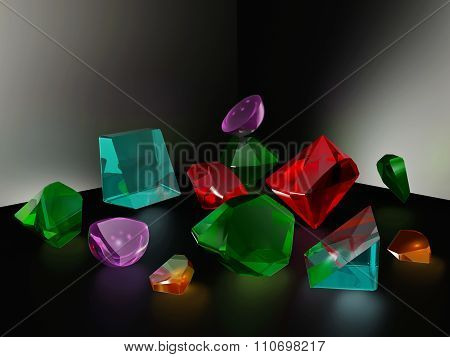 the fragments of different shapes 3d