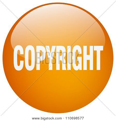 Copyright Orange Round Gel Isolated Push Button