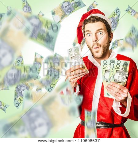 Santa With Australian Money At Christmas Sales