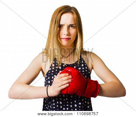 Determined Fitness Girl On White Background
