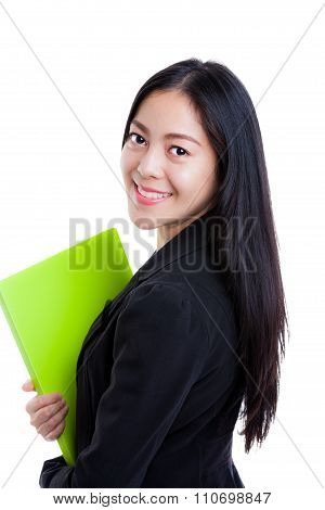 Woman With Document Folder Looking Back At Camera, Isolated On White