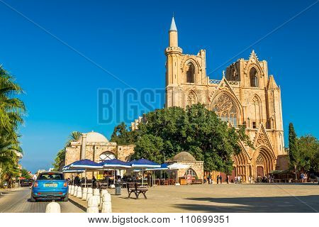 FAMAGUSTA CYPRUS - OCTOBER 10 2015: St. Nicholas Cathedral (formerly St. Nicholas Cathedral) at Mahmut Celaleddin square on OCTOBER 10 in Famagusta.