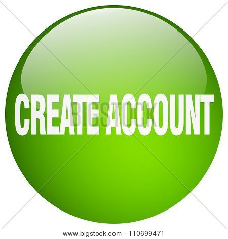 Create Account Green Round Gel Isolated Push Button