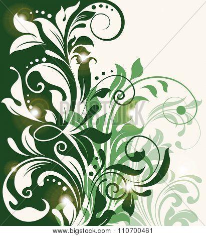 Vintage invitation card with ornate elegant abstract floral design. Vector illustration.