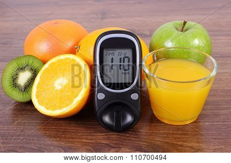 Glucometer, Fresh Fruits And Juice, Diabetes, Healthy Lifestyles And Nutrition