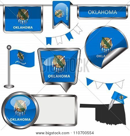 Glossy Icons With Flag Of State Oklahoma
