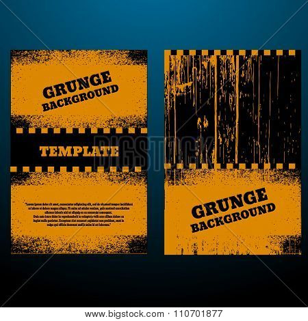Grunge Black And Orange Distress Texture Scratch Texture  Dirty Texture Vector Illustration Set Of B