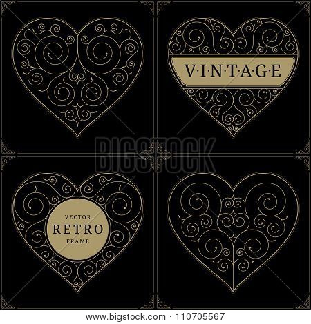 Heart-shaped vintage luxury logo template set with floral elegant calligraphic ornamental elements.