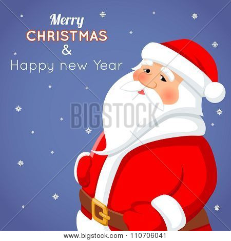 Cartoon Santa Claus Character Icon on Stylish Background Christmas Greeting Card Template Poster Vec