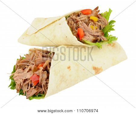 Pulled Pork And Salad Wraps