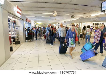 VERONA, ITALY - SEPTEMBER 15, 2014: inteior of Verona airport . Verona Villafranca Airport or simply Villafranca Airport is an airport located 2.7 NM southwest of Verona, Italy.
