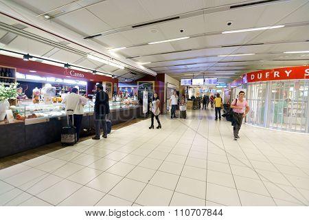 VERONA, ITALY - SEPTEMBER 15, 2014: inteior of Verona airport . Verona Villafranca Airport is an airport located 2.7 NM southwest of Verona, Italy.
