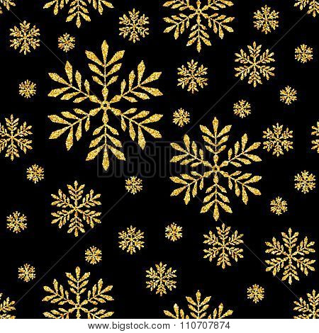 Abstract Seamless Vector Background with Gold Glitter Snowflakes