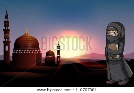 Muslim girl holding book at mosque illustration
