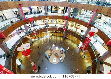 DUBAI - OCTOBER 15, 2014: interior of the Dubai Mall. The Dubai Mall located in Dubai, it is part of the 20-billion-dollar Downtown Dubai complex, and includes 1,200 shops.