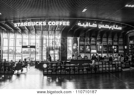 DUBAI - OCTOBER 15, 2014: interior of Starbucks Cafe at The Dubai Mall. Starbucks is the largest coffeehouse company in the world, with more then 23000 stores
