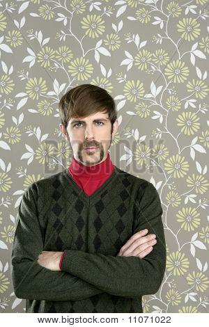 Mustache Retro Salesman Geek Portrait
