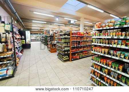 BONN, GERMANY - SEPTEMBER 18, 2014: interior of the supermarket. Bonn officially the Federal City of Bonn, is a city on the banks of the Rhine in the German state of North Rhine-Westphalia.