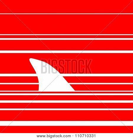Shark in red ocean