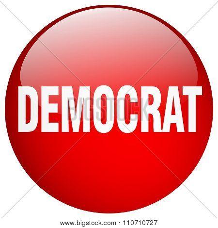 Democrat Red Round Gel Isolated Push Button