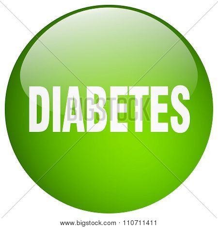Diabetes Green Round Gel Isolated Push Button