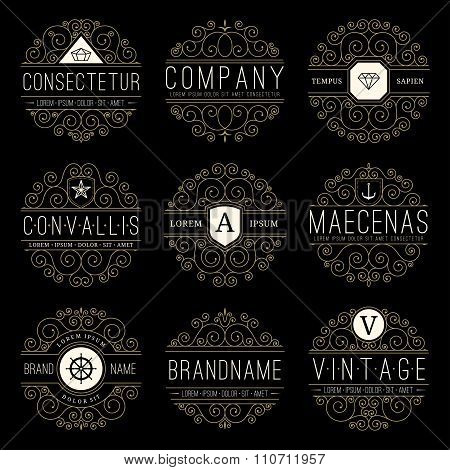 Luxury logo templates set in vintage style