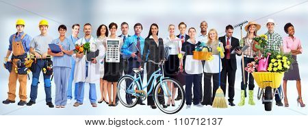 Group of business people workers. Job and education concept background.