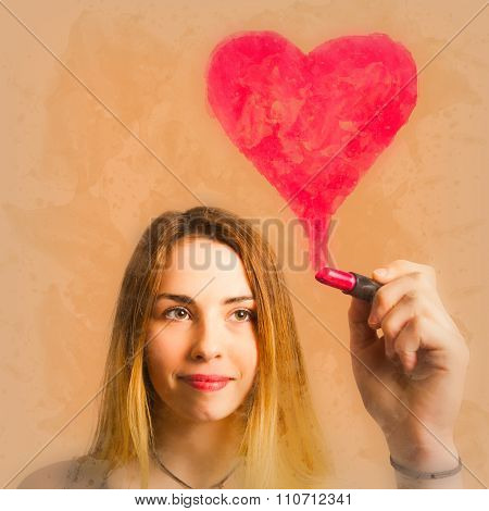 Cosmetic Girl Drawing Love Heart With Lipstick