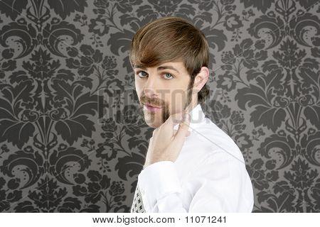 Mustache Retro Businessman Funny Gesture Hand