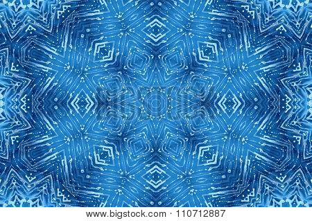 Blue Glass Background With Abstract Foam Pattern