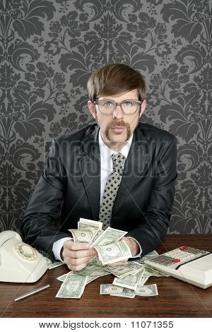 Businessman Nerd Accountant Dollar Notes