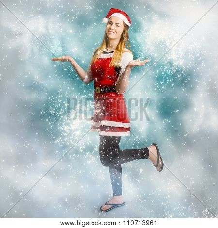 Santa Woman Playing In Magic Christmas Snow