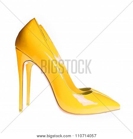 Summer Female Yellow Shoes In A White Background