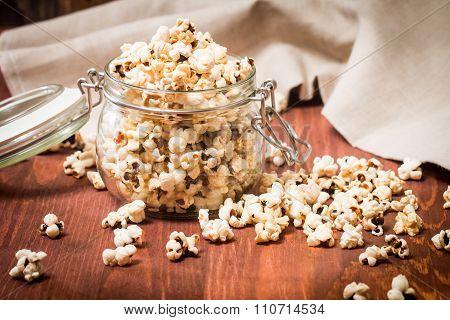 Closeup Of Popcorn In A Glass Jar