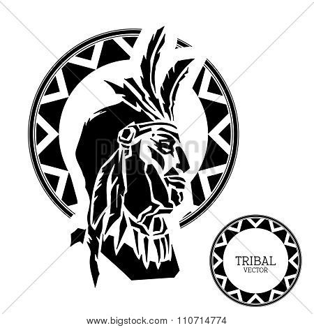 Vector Black  White Chief with tribal pattern