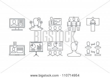 Line icons set of  teamwork and communication. Stock vector.